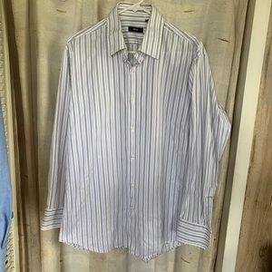 Hugo Boss Shirts - Hugo Boss Button Up Dress Shirt White & Gray VGC
